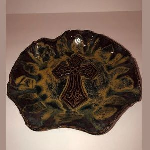 Mottled brown handcrafted Celtic cross pottery